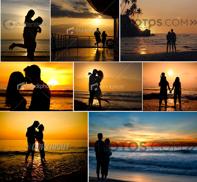 couples silhouetted on the beach at sunset