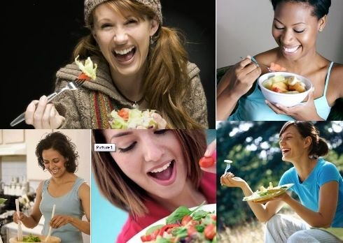 women-laughing-alone-with-salad